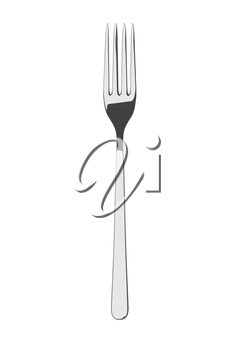 Silver spoon on a table. Fine cutlery. Isolated on white background. Single fork on a table. Silverware with shadow. 3D illustration.
