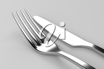 Fork and knife on grey. Photo realistic 3D illustration. Cutlery, kitchen silverware. For use in menu, restaurant printables, web site.