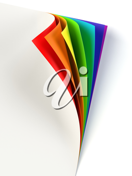 Blank document rainbow colored curled corner. Graphic design element. Empty template mock up. Business corporate identity, advertisement, poster with turning corner, colors and shadow. 3D illustration