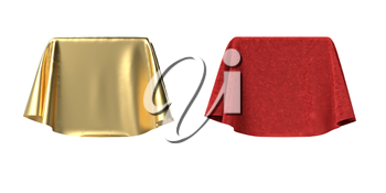 Set of boxes covered with red velvet and gold satin fabric. Isolated on white background. Surprise, award, prize, presentation concept. Reveal the hidden object. Raise the curtain. 3D illustration