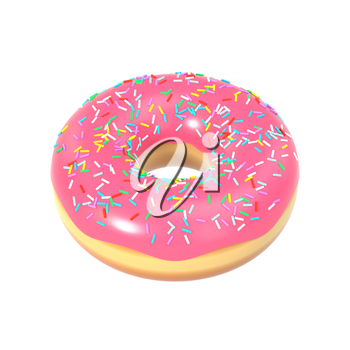 Delicious colorful donut with pink icing and sprinkles. Macro view of sweet american dessert isolated on white background. Graphic design element for bakery flyer, poster, scrapbook. 3D illustration.