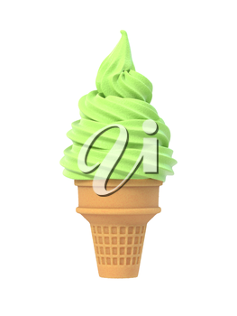 Mint soft ice icecream in waffle cone. Isolated on white background. Delicious flavor summer dessert. Graphic design element for advertisement, menu, scrapbooking, poster, flyer. 3D illustration