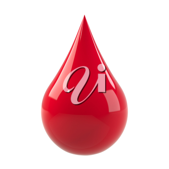 Blood drop isolated on white. Red fluid or ink. Donate blood, save life, clean blood concept. Graphic design element for poster, flyer, print manual, printer ink packaging. 3D illustration