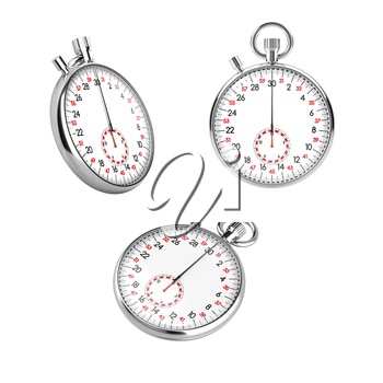 Set of 3 mechanical stopwatch chronometers in different views. Retro classic style clock isolated on white background. Sports competition, time is money, countdown concept. Realistic 3D illustration