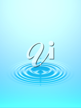 Water drop, rain drop falling on water surface. Liquid round ripple splashing with reflection. Graphic design element for poster, package, flyer. Abstract new age spiritual background, 3D illustration