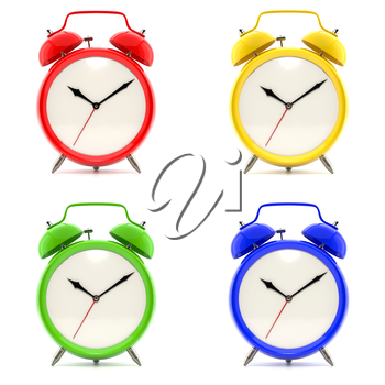 Set of 4 alarm clocks isolated on white background. Vintage style red, blue, green, yellow clock. Graphic design element for flyer, poster, sale. Deadline, wake up, happy hour concept. 3D illustration