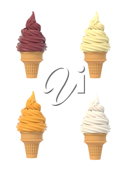 Soft ice icecream in waffle cone set. Isolated on white background. Delicious flavor summer dessert. Graphic design element for advertisement, menu, scrapbooking, poster, flyer. 3D illustration