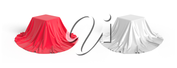 Set of boxes covered with red and white satin fabric. Isolated on white background. Surprise, award, prize, presentation concept. Reveal the hidden object. Raise the curtain. 3D illustration