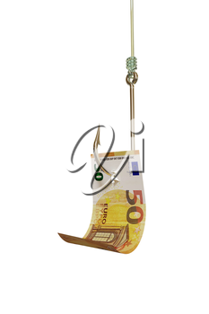 Euro bill on fishing hook, isolated on white background. Catching cash, investment, winning a lottery concept. 3D illustration