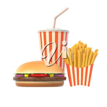 Fast food set isolated on white background. Hamburger, french fries and cola drink in generic package with stripes. Graphic design element for restaurant advertisement, menu or poster. 3D illustration