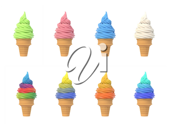 Set of soft ice icecream in waffle cones, assortment of tastes, isolated on white background. 3D illustration