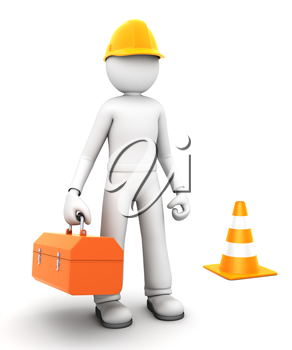 Construction worker . 3D character
