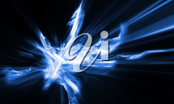 Futuristic abstract background. Light blue explosion on black