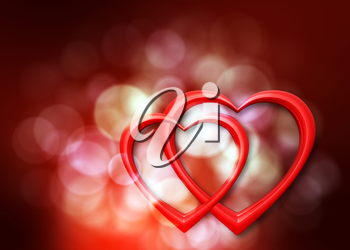 background with defocused lights and two hearts