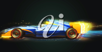 Formula One race car with light trail. Race car with no brand name is designed and modelled by myself