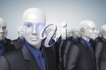 Robots dressed in a business suit