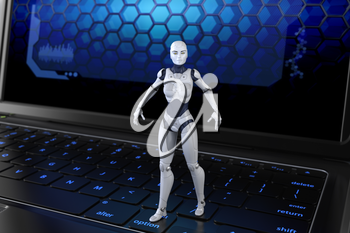 Robot standing on keyboard. 3D illustration