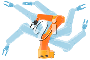 Industrial robot arms possibilities. 3d illustration