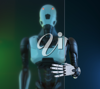 Robotstands in front of glass wall. 3D illustration