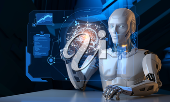 Robot working with futuristic touchscreen. 3D illustration