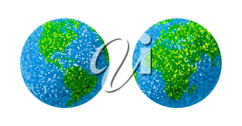 Green and blue grass Earth Globe