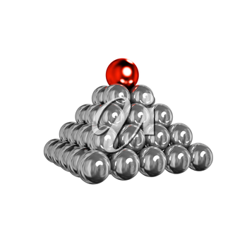 3d pyramid of shiny silver balls with red ball on top
