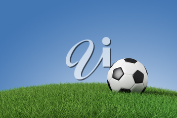 Soccer ball on grass with space for your text