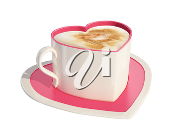 3d render of pink heart-shaped coffee cups