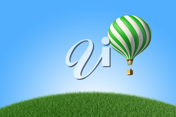 Green-white Hot Air Balloon in the blue sky. 3D render