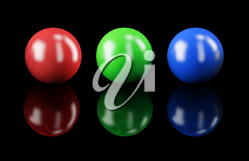 Set of balls isolated on black: RGB colors