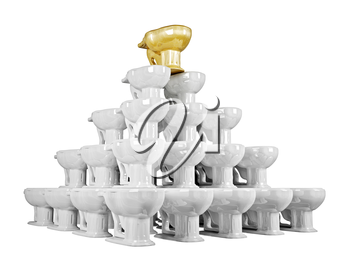 3d pyramid of shiny ceramics lavatory pan with gold one on top