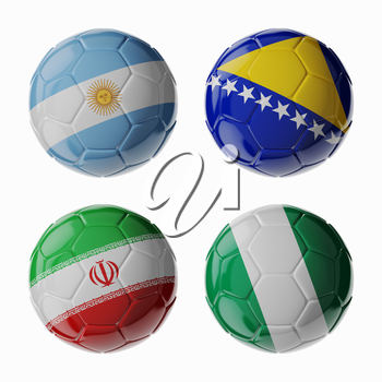 Set of 3d soccer balls with flags