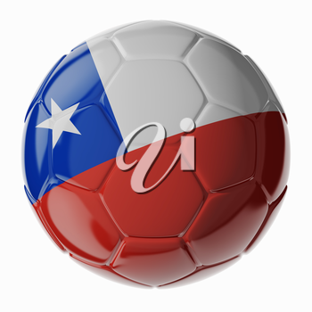 Football/soccer ball with flag of Chili. 3D render