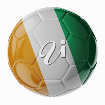Football/soccer ball with flag of Ivory Coast. 3D render