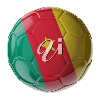 Football/soccer ball with flag of Cameroon. 3D render