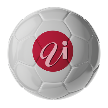 Football/soccer ball with flag of Japan. 3D render