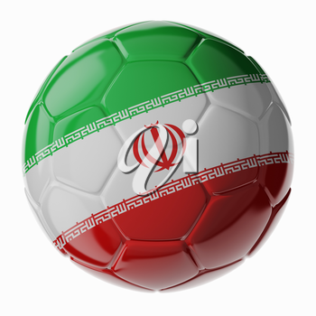 Football/soccer ball with flag of Iran. 3D render