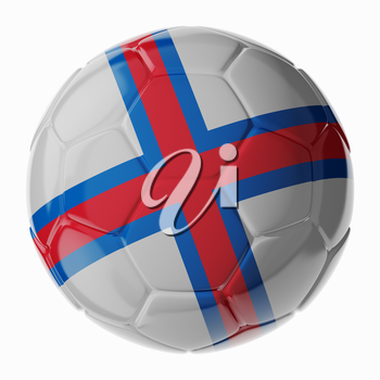 Football soccer ball with flag of Faroe islands. 3D render