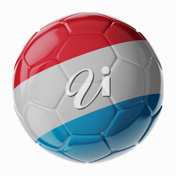 Football soccer ball with flag of Luxembourg. 3D render