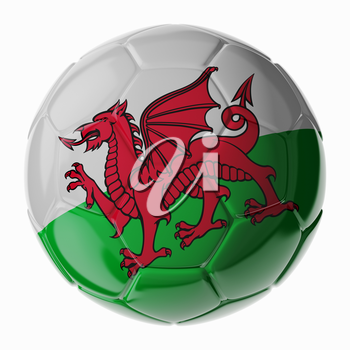 Football soccer ball with flag of Wales. 3D render