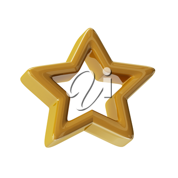 Gold star. 3d render with HDR