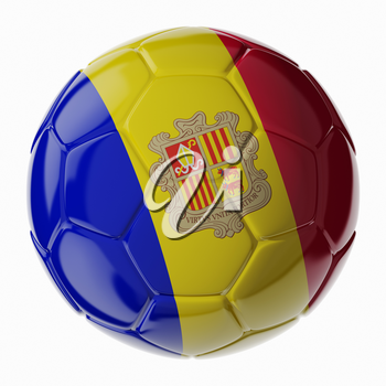 Football soccer ball with flag of Andorra. 3D render