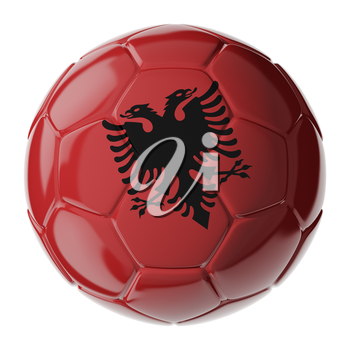 Football soccer ball with flag of Albania. 3D render