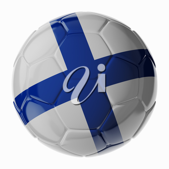 Football soccer ball with flag of Finalnd. 3D render