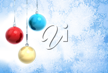 New Year background illustration with three Christmas balls hanging on ribbons above blue frozen glass surface