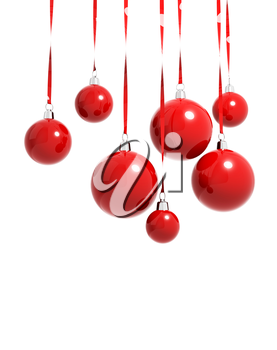Red Christmas balls hanging on ribbons isolated on white