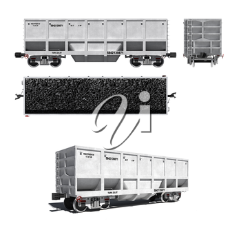 3d render illustration isolated on white: Projections and perspective view of the modern white carriage for coal transportation with text labels (Russian)