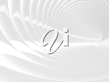 Abstract 3d illustration with white bent spiral tunnel interior