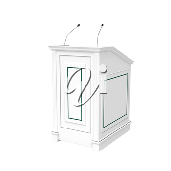 Classical architecture style interior object. White wooden podium, half-turn isolated on white