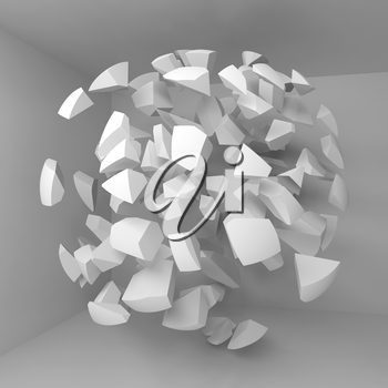 Abstract 3d background with flying white fragments of big sphere in empty room interior